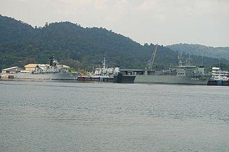 Lumut, Malaysia - Royal Malaysian Navy training ship KD Hang Tuah (left) and multi-role support ship KD Mahawangsa seen berthed at Lumut Naval Base