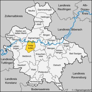 Inzigkofen - Image: Karte Inzigkofen