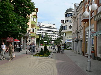 Kazanlak - The pedestrianized centre of modern Kazanlak off Seuthopolis Square.