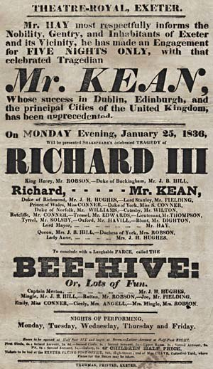 Theatre Royal, Exeter - A Theatre Royal Exeter playbill from 1836,  featuring Charles Kean in a performance of Richard III