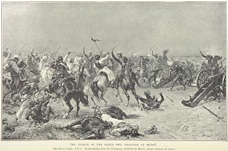 Battle of Mudki - The British dragoons charge, from an illustration by Ernest Crofts