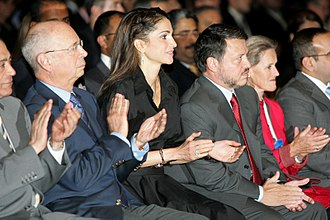 Abdullah II of Jordan - Abdullah and Queen Rania (third and fourth from left) during the World Economic Forum in Jordan, 20 May 2007