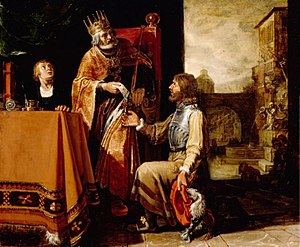 Uriah the Hittite - Pieter Lastman, David handing over a letter to Uriah, 1619.