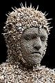 Kiribati Warrior - a life-size bust made from animal bones,fish spines and crushed bone by New Zealand artist, Bruce Mahalski (2013).jpg