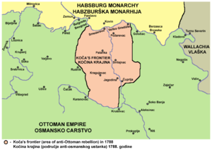 Habsburg-occupied Serbia (1788–92) - Koča's frontier (area of anti-Ottoman rebellion) in 1788.