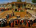 Konstantin Kapidagli. Jülüs ceremony (Enthronement ceremony) of Selim III. c. 1789. Topkapi Saray museum..jpg