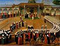 Konstantin Kapidagli. Jülüs ceremony (Enthronement ceremony) of Selim III. c. 1789. Topkapi Saray museum..jpg