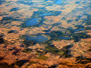 Kosciusko County, Indiana - Southern Kosciusko County is dotted with small lakes like Beaver Dam Lake (foreground) near Silver Lake.