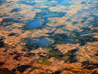 Kosciusko County, Indiana - Southern Kosciusko County is dotted with small lakes like Beaver Dam Lake (foreground) near Silver Lake.