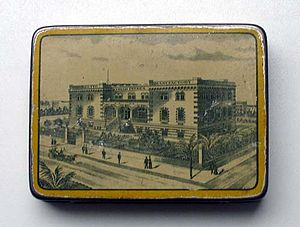 Kyriazi Freres - A box with an image of the Kyriazi Freres factory in Cairo
