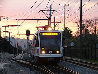 South Pasadena, California - The Los Angeles Metro Gold Line passing through South Pasadena.