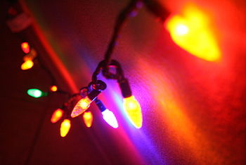 English: Energy efficient LED lights strung in...