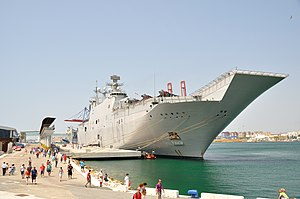 Spanish ship Juan Carlos I - The bow of Juan Carlos I, showing the ship's ski-jump ramp. Málaga, July 2013