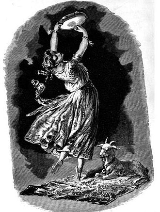 Esmeralda (The Hunchback of Notre-Dame) - Illustration of Esmeralda and Djali from Victor Hugo and His Time. 1882.