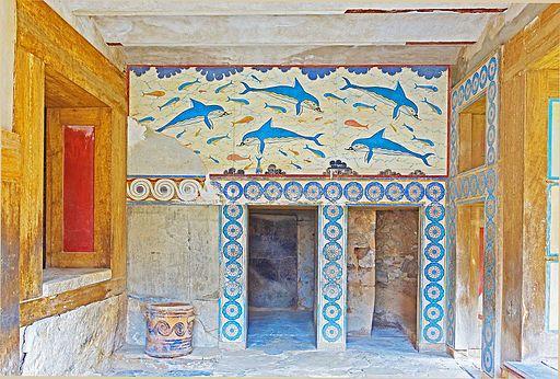 La salle des dauphins ou salle de bains de la Reine à Knossos
