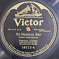 "Label of a 78 rpm disc recording ""On Honolulu Bay"" by Peerless Quartet, recorded December 11, 1916 and issued by Victor Talking Machine Co.jpg"