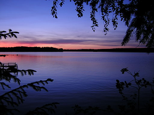 Lake Ähtärinjärvi at summer night