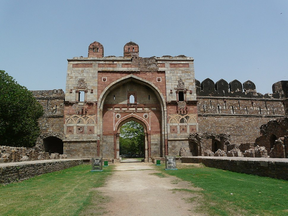 Lal Darwaza or Sher Shah Gate, with ruins along approach