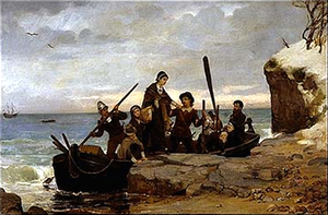 Christopher Martin (Mayflower passenger) - The Landing of the Pilgrims (1877) by Henry A. Bacon. The Pilgrims are traditionally said to have landed at Plymouth Rock.