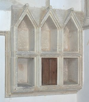 Ambry - Mid-13th century aumbry at St Matthew's Church, Langford, Oxfordshire, England
