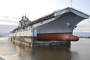 Launch of USS Tripoli (LHA-7) at Pascagoula on 1 May 2017.JPG