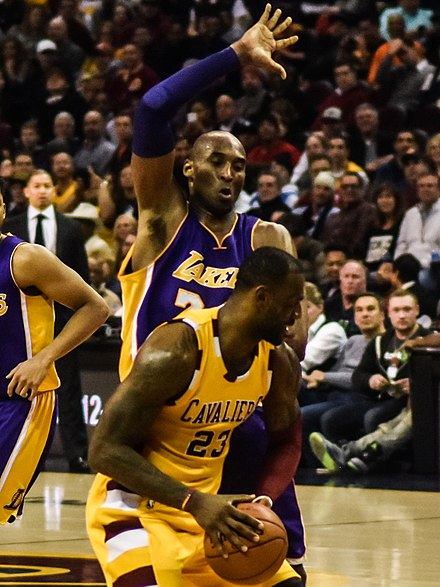 Kobe Bryant defending LeBron James in a February 2016 game between the Los Angeles Lakers and the Cleveland Cavaliers LeBron James vs. Kobe Bryant (24848589252).jpg