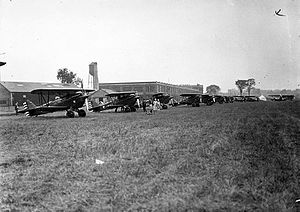 Leaside - Aircraft preparing to take-off at Toronto Flight Club, Leaside, 1930.  Photo by William James.