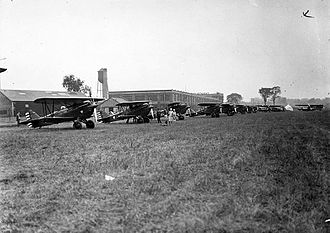 Leaside - Members of the Toronto Flight Club prepare to take-off from Leaside Aerodrome, 1930. The Aerodrome was operated from 1917 to 1944.