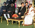 Lee Myung Bak, the President, Smt. Pratibha Devisingh Patil, the Vice President, Shri Mohd. Hamid Ansari and the Prime Minister, Dr. Manmohan Singh, on the occasion of the `At Home` ceremony, at Rashtrapati Bhavan.jpg