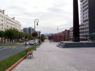 Leioa - The main boulevard in Leioa (Looking south towards Bilbao).