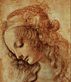 Leonardo's Head of a Woman, 1475-80 Uffizi, Public Domain.jpg