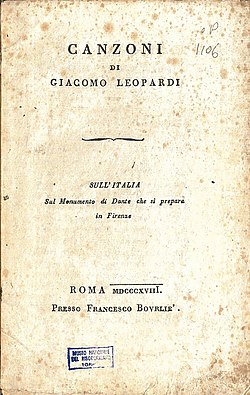 Leopardi - Canzoni, Bourliè, Roma 1818 (page 2 crop).jpg