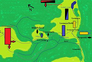 Battle of Lesnaya - Initial positions in the battle of Lesnaya 1708. Russians in red; Swedes in blue; Swedish wagon train in orange.