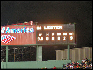 Jon Lester - The line score inside Fenway Park following Jon Lester's no-hitter, May 19, 2008