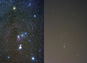 The constellation Orion, imaged at left from d...