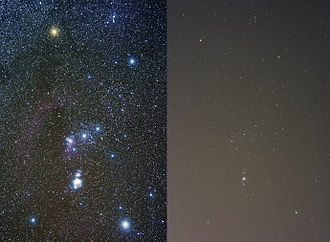 Globe at Night - The visibility of the constellation Orion varies depending on the observer's local level of light pollution; clear sky is on left, light-polluted sky is on right. Note that the photo at left shows more detail than can be seen with the human eye.