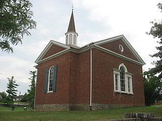 Nancy Lincoln - Rear of the Lincoln Marriage Temple, which shelters the cabin in which Thomas Lincoln married Nancy Hanks. Built in 1931, it is part of Old Fort Harrod State Park in Harrodsburg, Kentucky