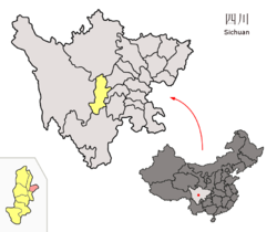 Location of Mingshan District (red) within Ya'an City (yellow) and Sichuan