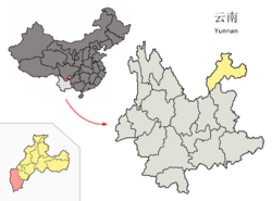 Location of Qiaojia County (pink) and Zhaotong Prefecture (yellow) within Yunnan province of China