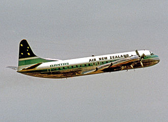 History of Air New Zealand - Air New Zealand Lockheed L-188 Electra departing Sydney for Wellington in 1970.