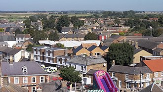 Whittlesey - Looking north over the Market Place from the spire of St. Mary's during the 2012 Whittlesey Festival