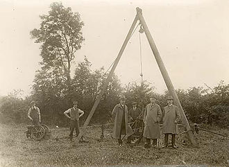 Martin Morris, 2nd Baron Killanin - Lord Killanin (centre) as director of the Liffey Power Syndicate inspecting boring operations at Poulaphouca, Co. Wicklow, as part of a hydro-electric development initiative, 18 August 1923
