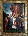 Lorenzo Costa, Sposalizio della Vergine tra i ss. Gioacchino, Anna e un frate francescano, 1505.jpg