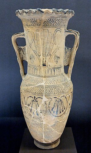 Loutrophoros - Protoattic loutrophoros-amphora by the Analatos Painter, c. 680 BC, Louvre (CA 1960)