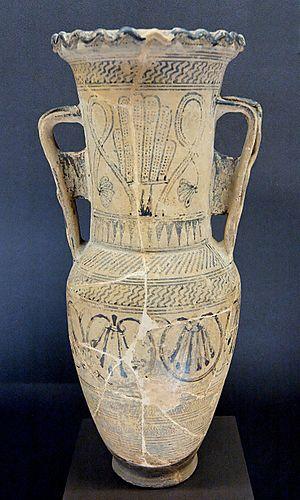 Loutrophoros - Protoattic loutrophoros-amphora by the Analatos Painter, c. 680 BC, Louvre (CA 1960)