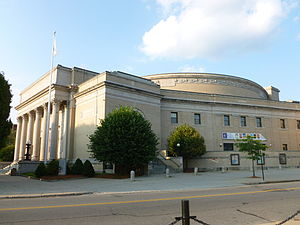 Lowell Memorial Auditorium; Lowell, MA; west (front) and south sides; 2011-08-20.JPG