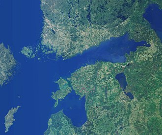 Outline of the Åland Islands - An enlargeable satellite image showing the Åland Islands at the mouth of the Gulf of Bothnia (upper left)