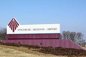 Lynchburg Regional Airport - Airport main signage, off U.S. 29