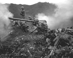 Battle of the Notch - M20 recoilless rifles in action. These weapons were used at the Notch against North Korean machine gun positions.