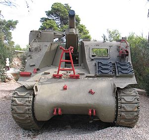 M7 Priest, front view, at Beyt ha-Totchan, Zichron Yaakov, Israel.